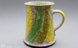 Töpferei Dambeck - Craqueleé Becher gelb/grün