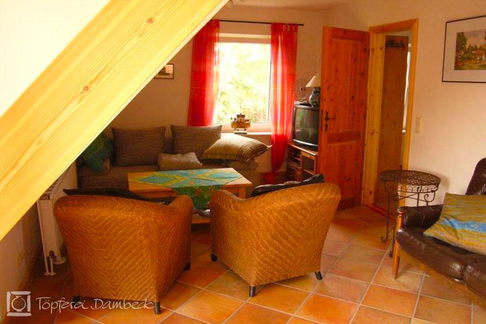 Ferienwohnung Dambeck Wohnzimmer Sitzecke