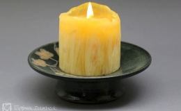 Töpferei Dambeck - Steinzeug grün-geritzt Kerzenstaender