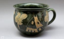Töpferei Dambeck - Steinzeug grün-geritzt Milchkaffeetasse