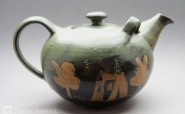 Töpferei Dambeck - Steinzeug grün-geritzt Teekanne