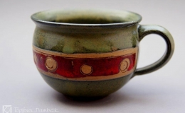 Töpferei Dambeck - Steinzeug grün-rot Kaffeetasse