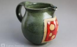 Töpferei Dambeck - Steinzeug grün-rot Krug