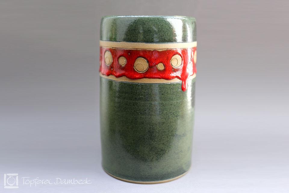 Töpferei Dambeck - Steinzeug grün-rot Zylinderbecher