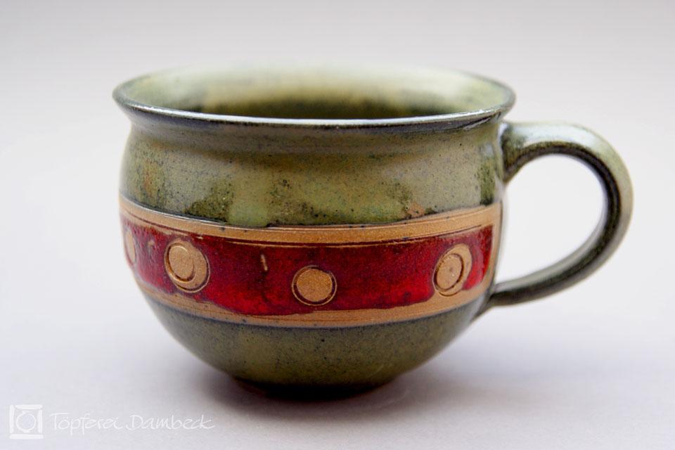 Töpferei Dambeck - Steinzeug grün-rot Milchkaffeetasse