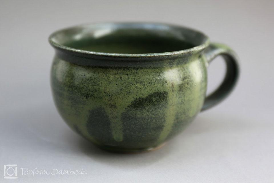 Töpferei Dambeck - Steinzeug grün Milchkaffeetasse