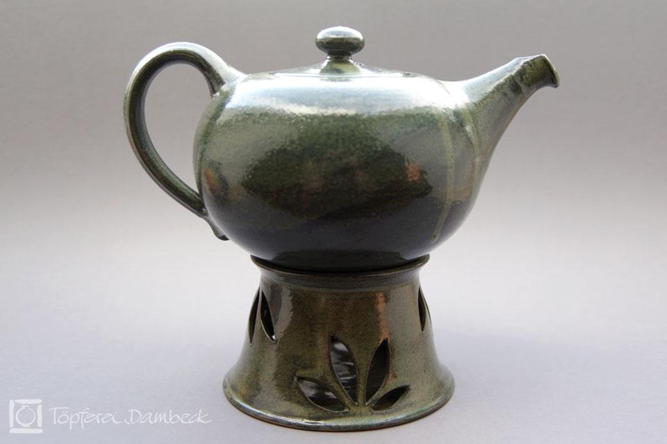 Töpferei Dambeck - Steinzeug grün Teekanne mit Stöfchen